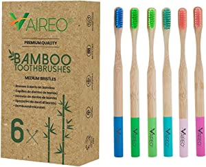 Bamboo Toothbrushes – 6-Pack Eco-Friendly Bamboo Wooden eco Friendly Natural Toothbrush – Colorful and Durable Medium Soft Bristles – Non-Toxic and Safe