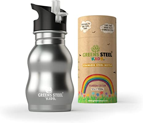 Utaly Kids Water Bottle BPA-Free Sports OutdoorCute Straw Cup 12oz Blue