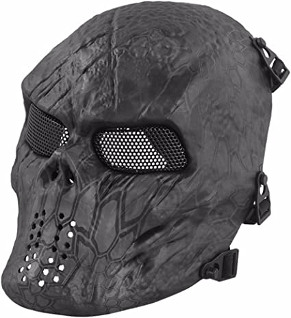 Outdoor Tactical Steel Mesh Metal Face Mask Half Face Skull CS Camouflage Mask