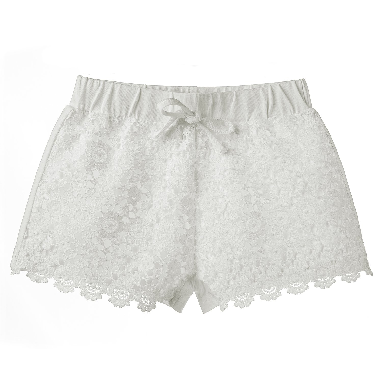 ISPED Girls Shorts Solid Color Short with Exquisite Lace