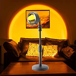 Sunset Lamp Projector, 240 Degree Rotation Sunset Light,Romantic Visual Led Light for Kids Adults, Sunset Projection Lamp Night Light for Family Home Party Living Room Bedroom Decor