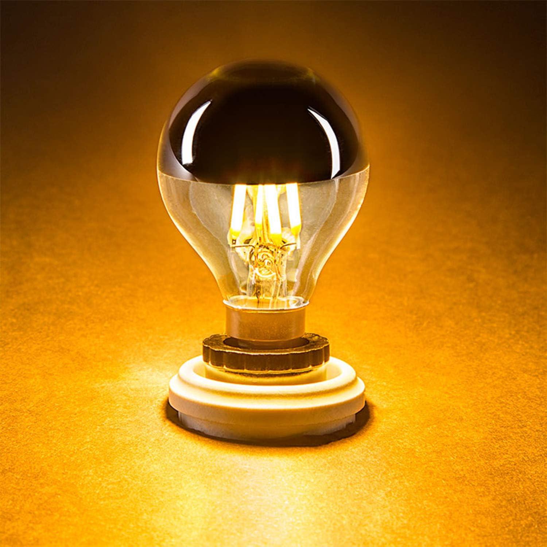 Ampoule /à DEL chrome de 4 watts,G45//G14 LED Silver Bowl verticale Filament Ampoule avec miroir E27 lumi/ère de base pour cand/élabre 40 watts blanc chaud fant/ôme 2700K non graduables 6 Pack