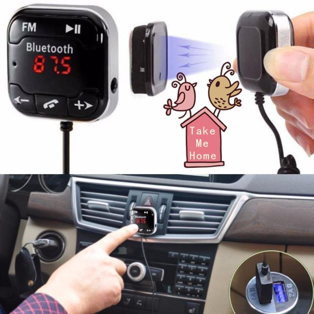 Handsfree Wireless Bluetooth LCD USB MP3 AUX SD FM Transmitter Magnet Car Kit