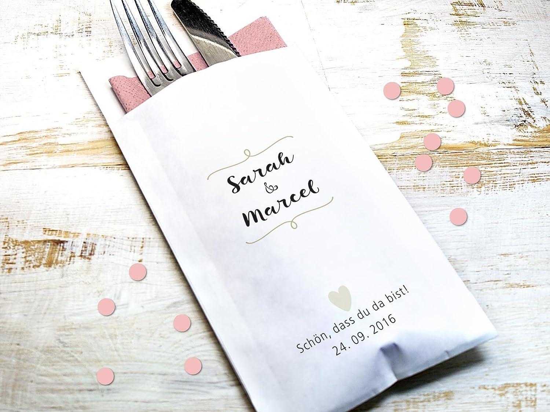 10 Stück personalisierbare Bestecktasche für Hochzeit Verlobung Silberhochzeit Goldene Hochzeit Staffelpreisrabatt