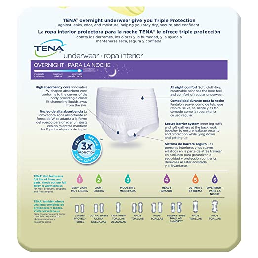 Amazon.com: TENA Overnight Underwear, X-Large, 12 Count: Health & Personal Care