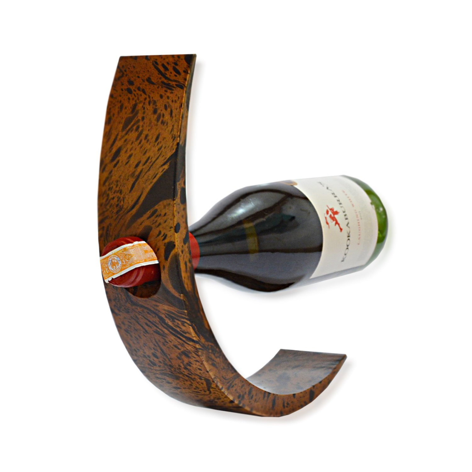 CinMin 10.5 Inch Handcarved Wood Wine Bottle Holder and Balance with Black and Brown Swirl Pattern by CinMin