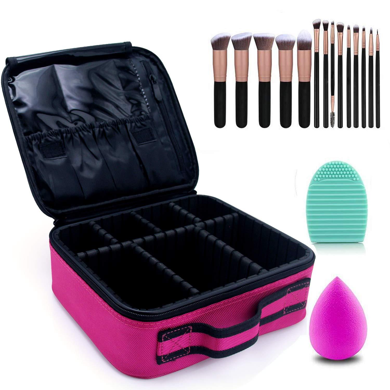 Makeup Case Cosmetic Bag Travel Makeup Train Case Black with 14 Pcs Premium Makeup Brushes Set Kit Rose Golden, Blender Sponge and Brush Egg Gift Set (17 Pcs) (Hot Pink)