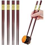 GLAMFIELDS 5 Pairs Premium Fiberglass Chopsticks - Classic Style Reusable Chopsticks Gift Set, Dishwasher Safe, 9.5…