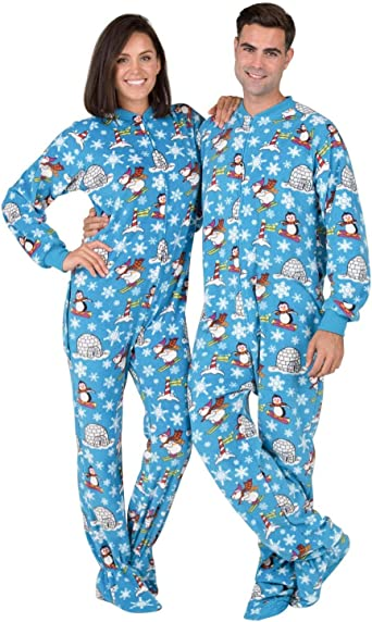 Winter Wonderland Adult Hoodie Fleece One Piece Footed Pajamas