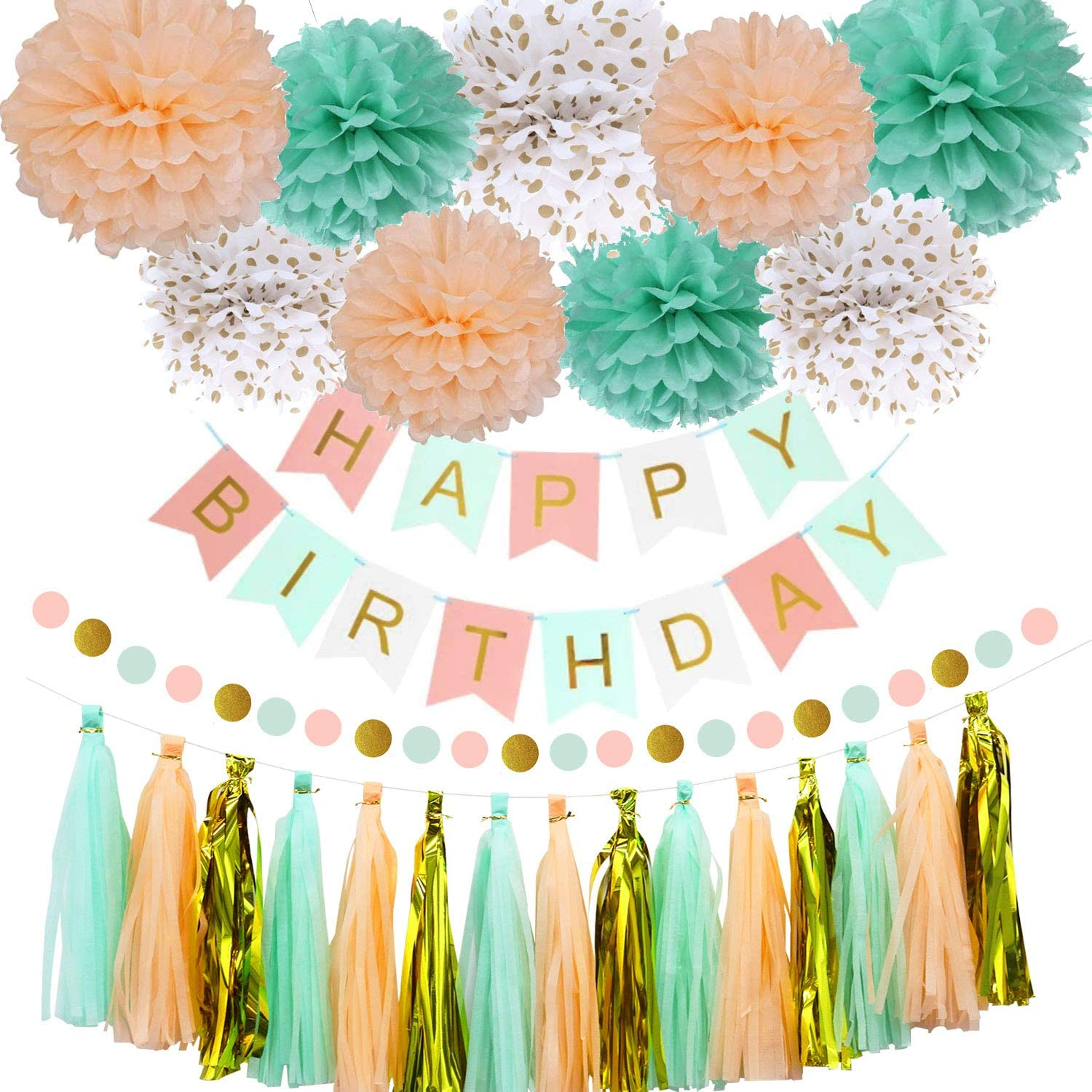 OuMuaMua Mint Peach Birthday Party Decorations for Women Grils, Happy Birthday Decoration Set with Birthday Banner Pom Poms Circle Dot Garland and Tassel Garland for Women Grils Birthday Party Decor