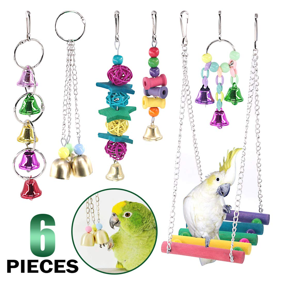 Keadic 6 Pack Bird Parrot Chewing Toys Set, Bird Perches Swing Toys Hanging Toys with Bells for Parakeets, Cockatiels, Conures, Macaws, Parrots, Finches and Love Birds by Keadic