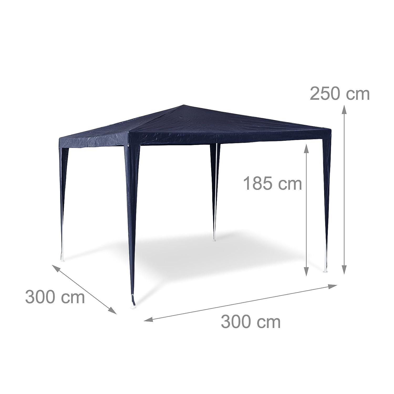 Relaxdays Gazebo//Tenda per Esterni Quadrata Verde 300x300x250 cm