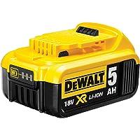 DeWalt Ersatzakku (18 Volt, 5,0 Ah Li-Ion, kompatibel mit allen 18 Volt XR Akku-Maschinen von DeWalt, mit Ladezustandsanzeige, kein Memory-Effekt und Selbstentladung) DCB184