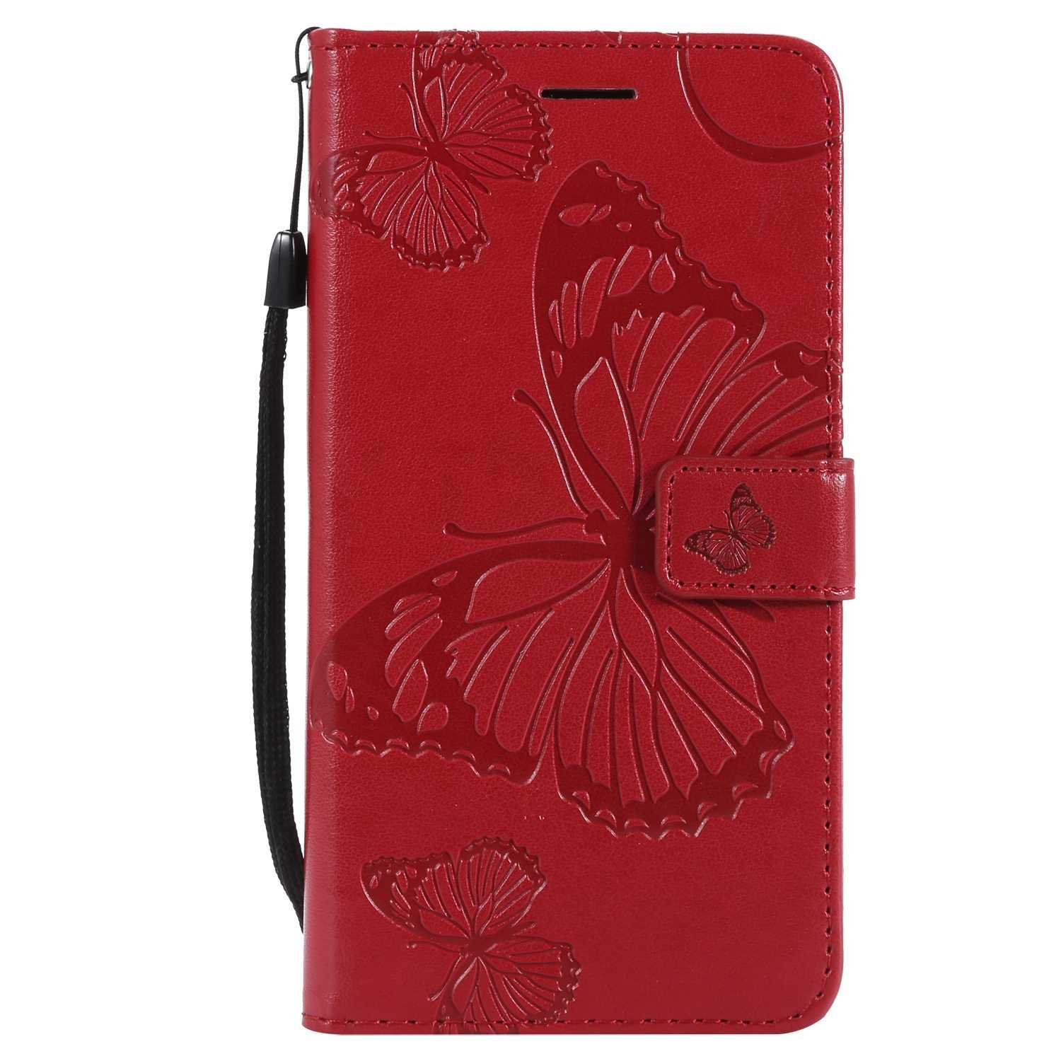 CUSKING Case for Samsung Galaxy J7 2016, Leather Flip Cover Magnetic Wallet Case with Butterfly Embossed Design, Case with Card Holders and Kickstand - Red