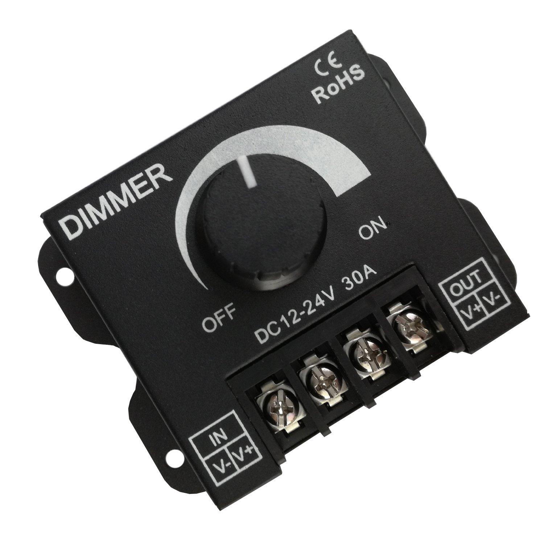 DC 12V-24V 30A LED Strip Dimmer Switch Stepless Adjustable Brightness, Black Color, RoHS CE Certificates
