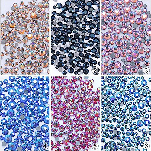 hermosotodo Fashion 3D Flat Bottom Colorful DIY Art Nail Rhinestones Manicure Decor Fingernail Glitter by hermosotodo
