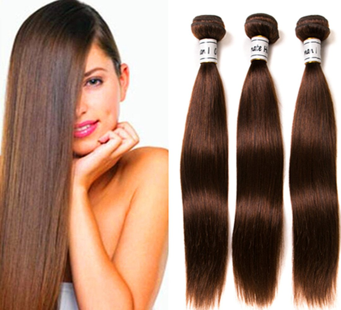 Ornate Hair 8A Grade Virgin Brazilian Straight Hair 3 Bundles 100g/bundle 100% Unprocessed Remy Human Hair Weave Extensions #4 Light Brown Full Head (16 18 20inch) by Ornate Hair