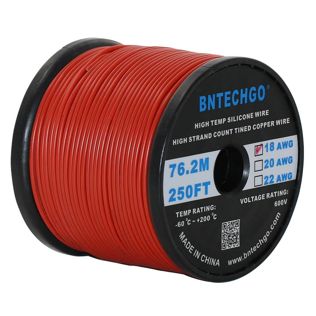 BNTECHGO 18 Gauge Silicone Wire Spool Red 250 feet Ultra Flexible High Temp 200 deg C 600V 18 AWG Silicone Rubber Wire 150 Strands of Tinned Copper Wire Stranded Wire for Model Battery Low Impedance