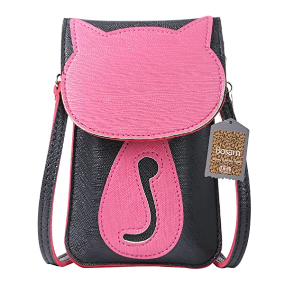 Image Unavailable. Image not available for. Color  Bosam Cell Phone Bag  with Cute Cat Pattern Touch Screen Window Cross Body Pouch Purse for 8a1e772b195b9