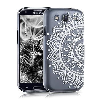 kwmobile Funda para Samsung Galaxy S3 / S3 Neo - Carcasa de plástico para móvil - Protector Trasero en Blanco/Transparente