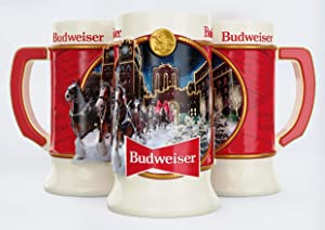 Budweiser 2020 Clydesdale Holiday Stein - Brewery Lights - 41st Edition - Ceramic Beer Mug - Christmas Gifts for Men, Father, Husband