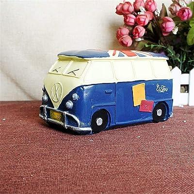 Banco de dinero Olla de ahorro Retro Nostalgic Home Resin Piggy Bank Modelo de coche clásico Decoración Bar Cafe Piggy Bank Ideal para todas las edades niños ( Color : B , Size : 9.5 x 17 x 19cm ): Hogar