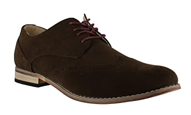 7dcd147389 Classics Mens Faux Suede Smart Formal Casual Lace Up Brogues Shoes UK7 Brown