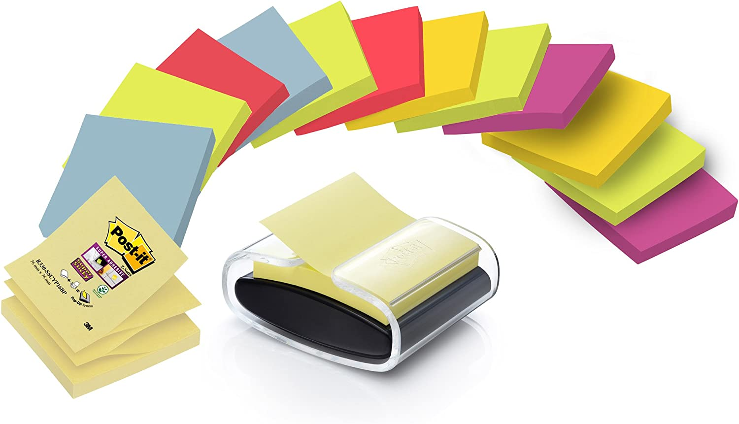 Z Notes Dispenser Gratis Post-It Super Sticky Foglietti Promo Pack di 14 Blocchetti 76 x 76 mm Colori Assortiti