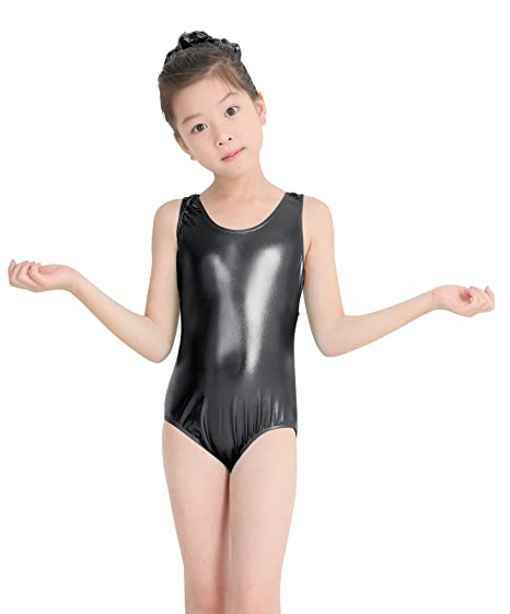 speerise Kids Girls Shiny Metallic Tank Top Racerback Gymnastics Leotard  Black 3 f969e7575