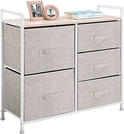 mDesign Cómoda de tela – Estrecho organizador de armarios con 5 cajones – Práctico mueble cajonera para el dormitorio, las habitaciones infantiles o zonas pequeñas – Armario con cajones – beis: Amazon.es: Hogar