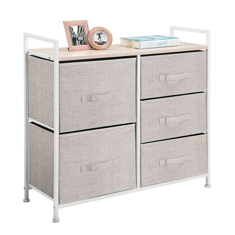 mDesign Wide Dresser Storage Tower - Sturdy Steel Frame, Wood Top, Easy Pull Fabric Bins - Organizer Unit for Bedroom, Hallway, Entryway, Closets - Textured Print, 5 Drawers - Linen/Tan by mDesign