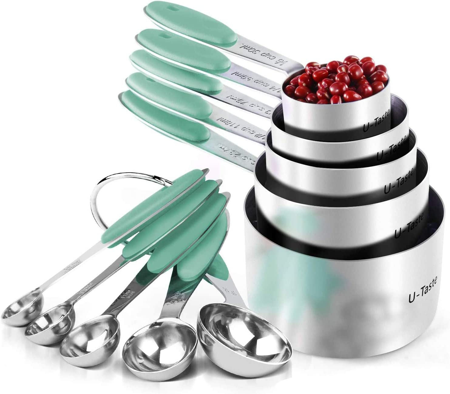 Measuring Cups : U-Taste 18/8 Stainless Steel Measuring Cups and Spoons Set of 10 Piece, Upgraded Thickness Handle(Aqua Sky)