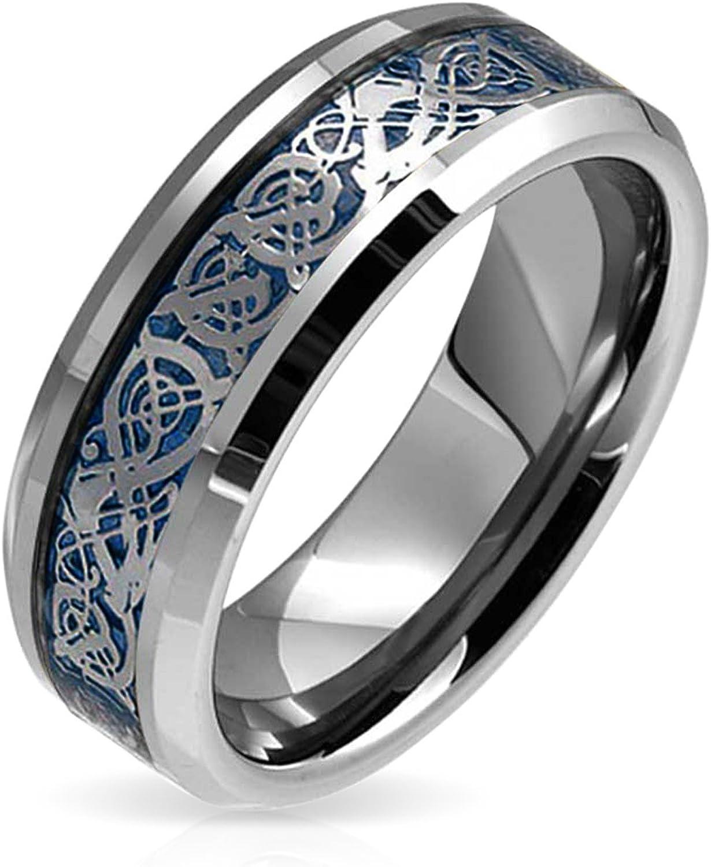 Bling Jewelry Azul Plata Tone Nudo Celta Dragon Inlay Parejas Banda Boda Anillos De Tungsteno para Hombres Y Mujer Comfort Fit 8Mm