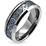 Bling Jewelry Celtic Dragon Blue Inlay Tungsten Wedding Ring 8mm
