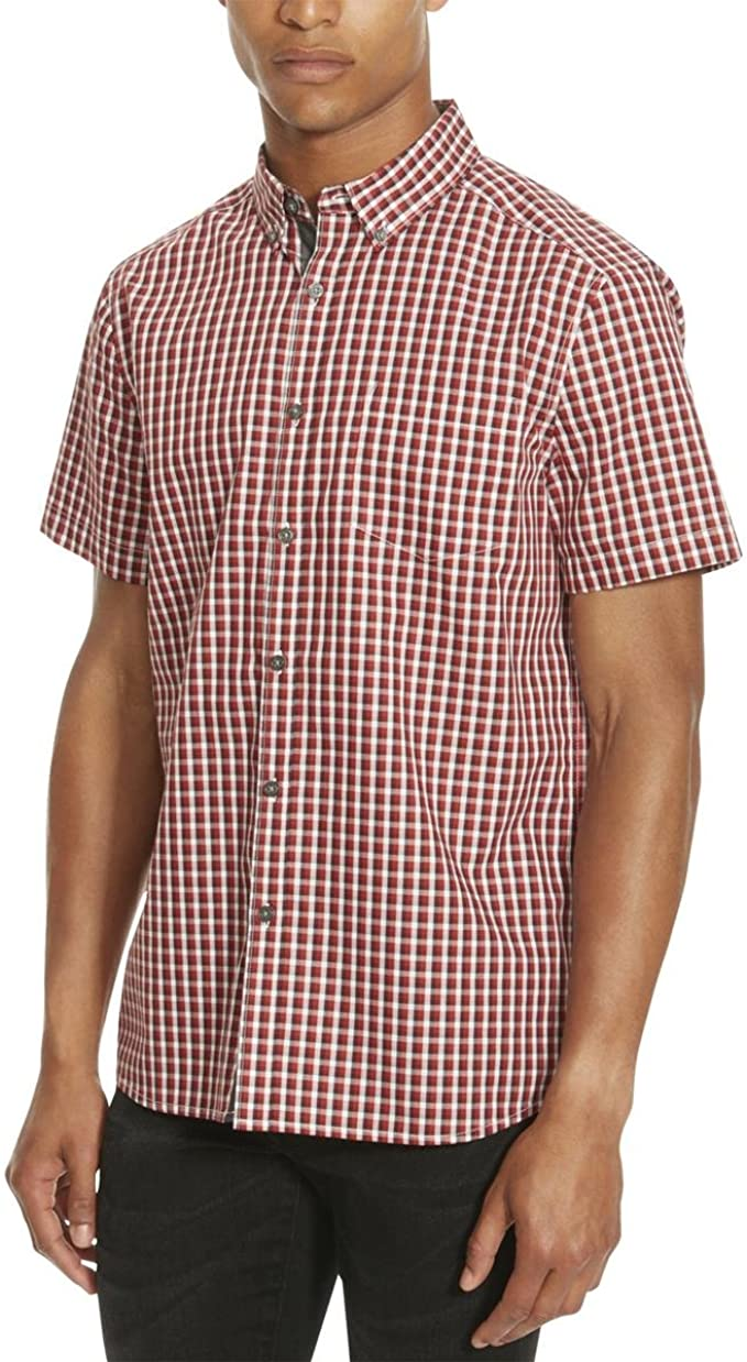 Kenneth Cole REACTION Mens Short Sleeve Check Shirt