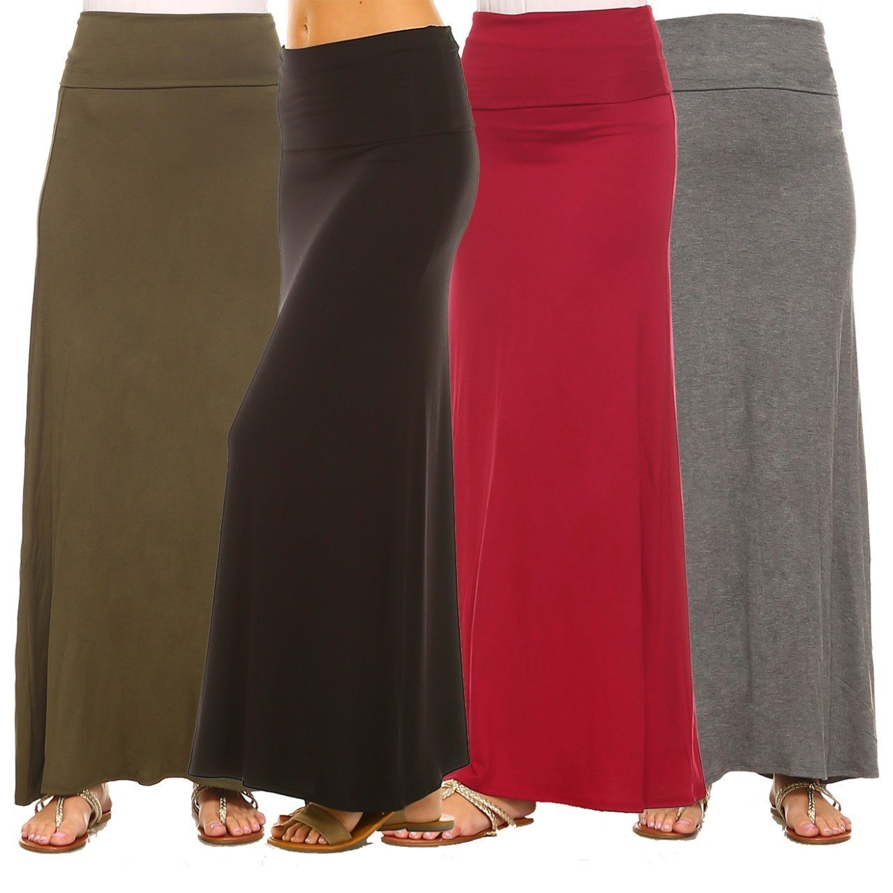 Isaac Liev Women's 4-Pack Trendy Rayon Span Fold Over Maxi Skirt (X-Small, Black, Burgundy, Olive & Charcoal)