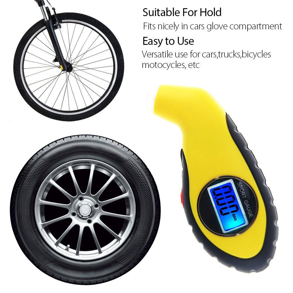 Baorio Auto-Reifendruckpr/üfer 0-50 PSI Auto Reifen Reifen Motorrad Auto Reifendruckpr/üfer Reifendruckmessger/ät