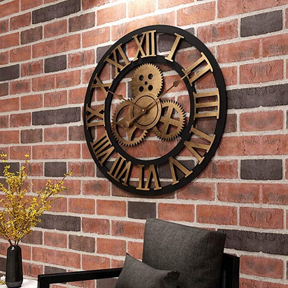 Reloj de pared antiguo reloj de pared silenciosa no marque grandes números romanos en ronda de cuarzo reloj de madera de art deco,80cm