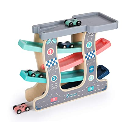 Ulmisfee Wooden Race Track Car Ramp Racer with 4 Cars Toddler Toys for 1 2 3+ Year Old Boy Girl Gifts: Toys & Games