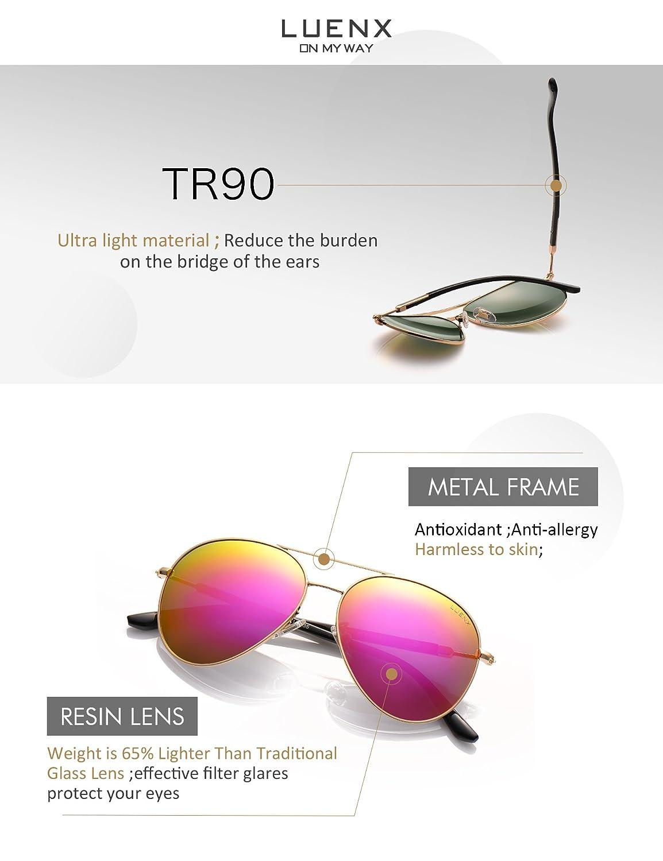 LUENX Damen Sonnenbrille Aviator Polarisiert mit Etui - UV 400 ...