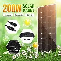 HMLIGHT Las células de la Placa Panel Solar Flexible 200W 18V Cargador Solar para el Barco de la batería de Coche de 12…