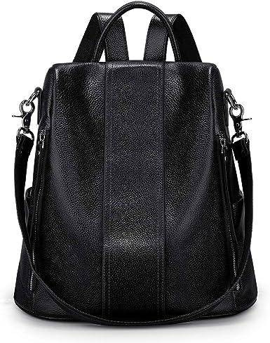 Womens Bags Handbags Black Women Genuine Leather Tassel Patchwork Handbag Backpack