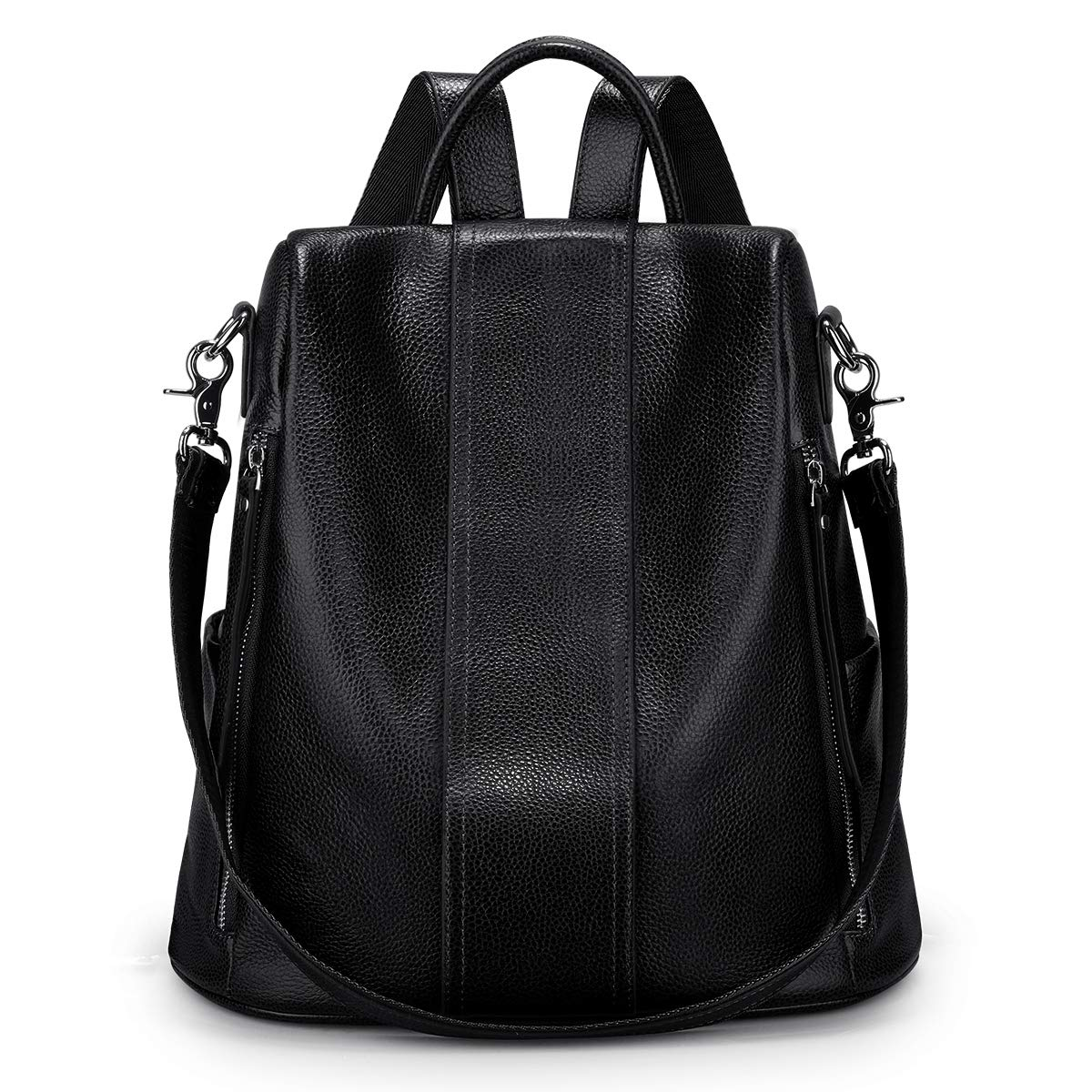 S-ZONE Soft Leather Backpack for Women Anti-theft Rucksack Ladies Waterproof Shoulder Bag(black) by S-ZONE