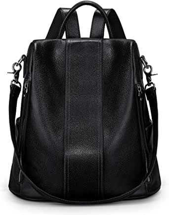 S-ZONE Women Soft Leather Backpack Antitheft Rucksack Ladies Shoulder Bag Medium