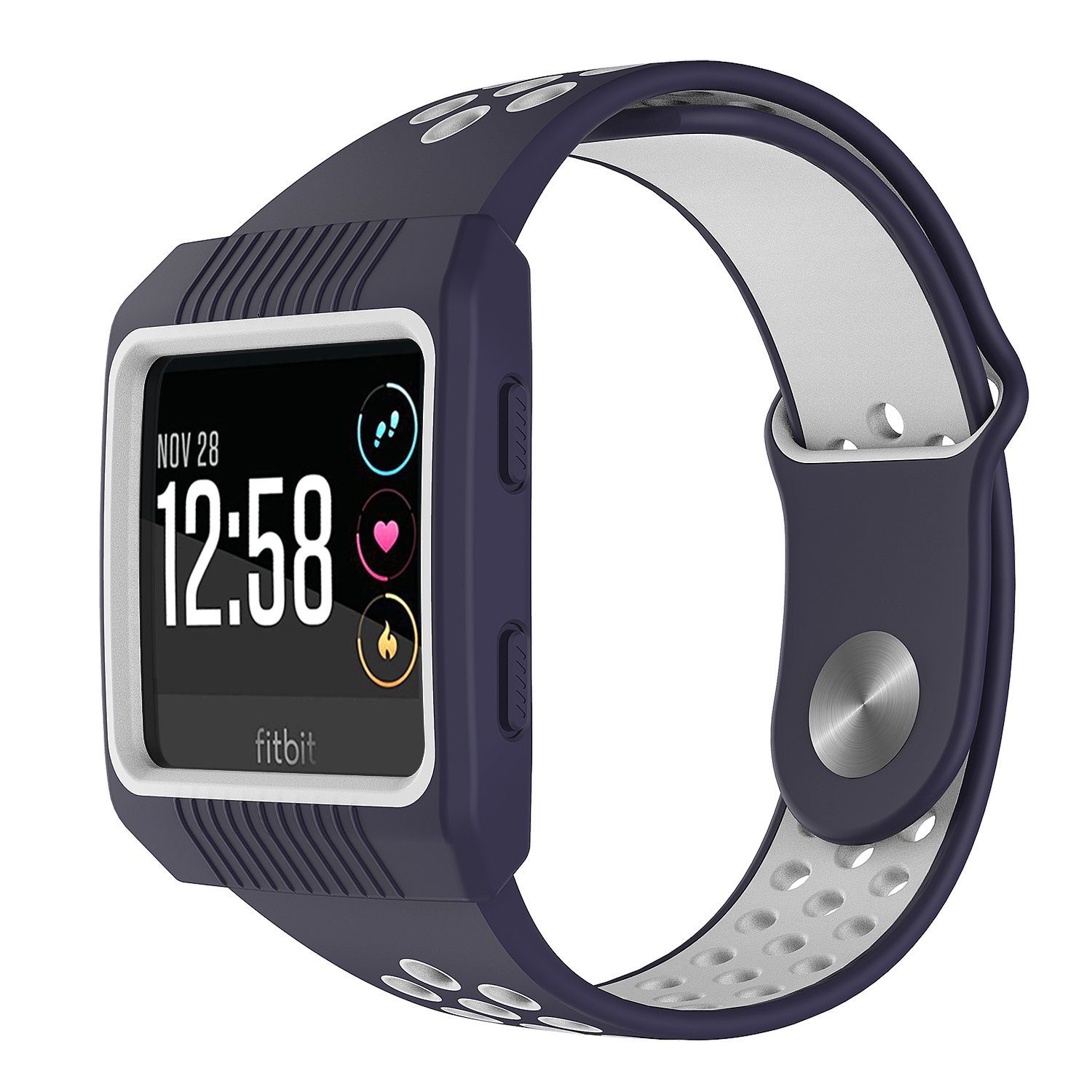 Fitbit Ionic Bands And Case,MYRIANN Accessories Set With Silicone Sport Band And Protective Case Cover for Fitbit Ionic Smart Watch (Navy Blue/White, ...
