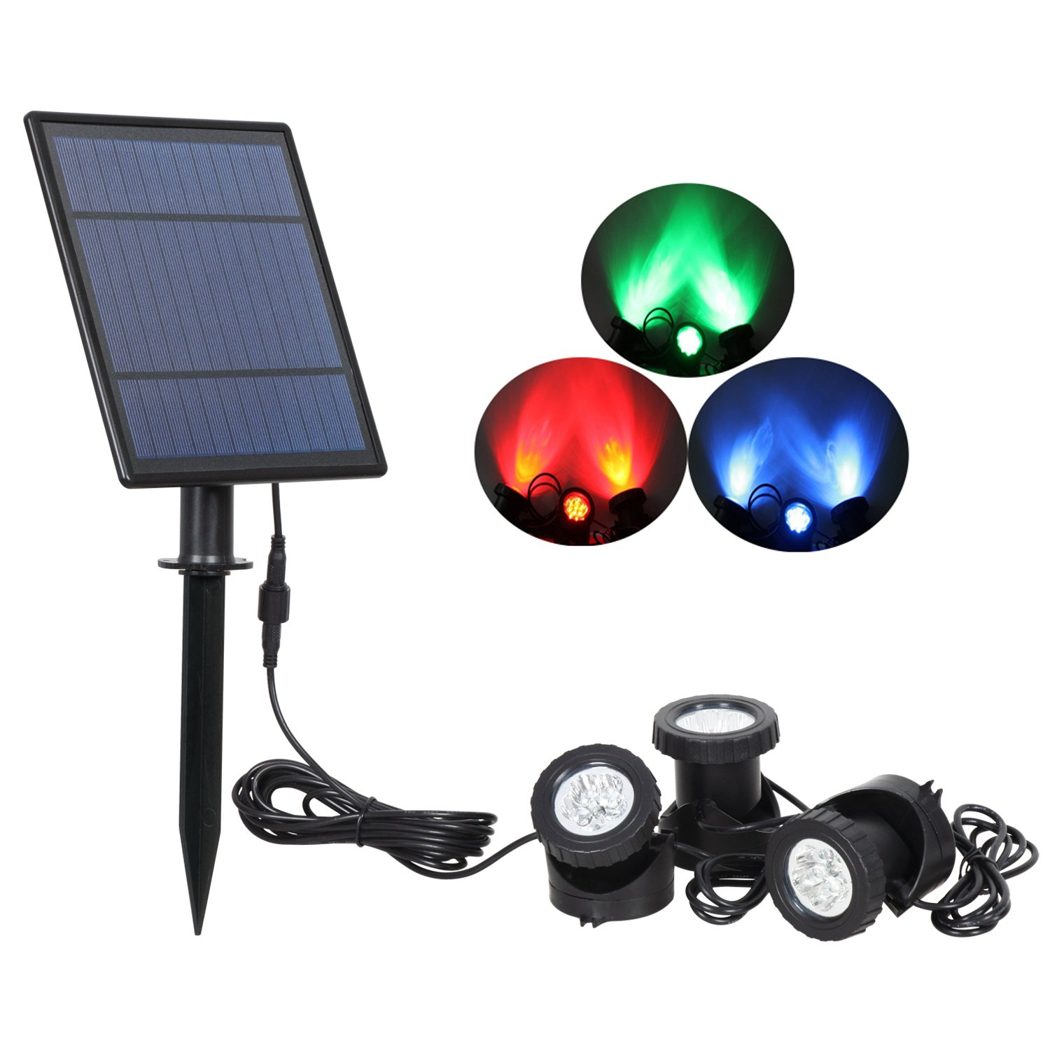 T Sun Solar Underwater Pond Lights, Waterproof Submersible Lamps Projector Light,
