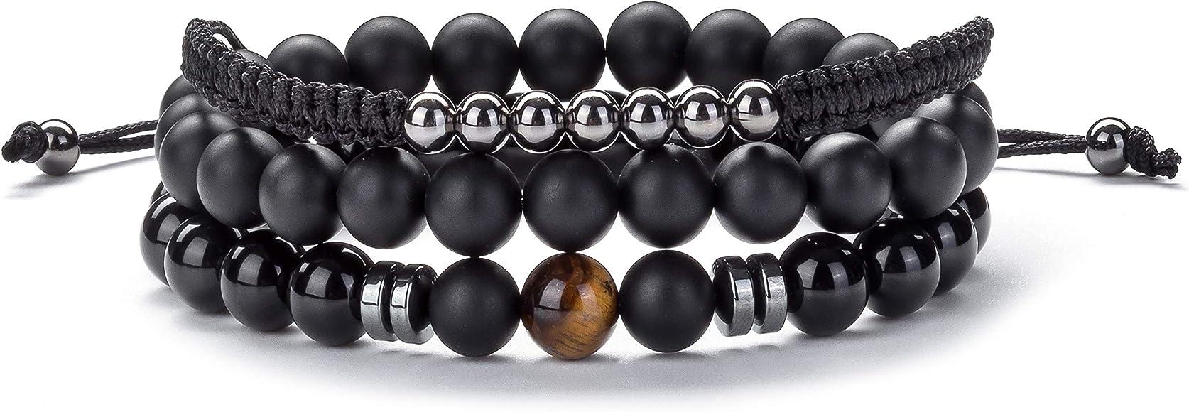 ac7669d1290 Hamoery Men Women 8mm Lava Rock Wrap Bracelet Braided Rope Natural Stone  Stack Bracelet Bangle Set