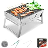Sunkorto 15.4x10.6x8 Inch Folded Charcoal BBQ Grill Set, Stainless Steel Portable Folding Charcoal Barbecue Grill, Barbecue T