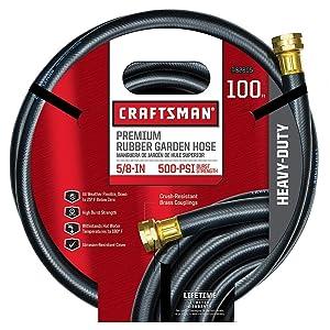 "Craftsman Garden Hose 100 ' X 5/8 "" Rubber Premium 500 Psi"