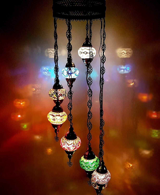 ハンドメイド 8ボール トルコ モロッコ オットマン スタイル ガラス モザイクシャンデリア ランプライト グローブ(マルチ) B07GB7RZ5W